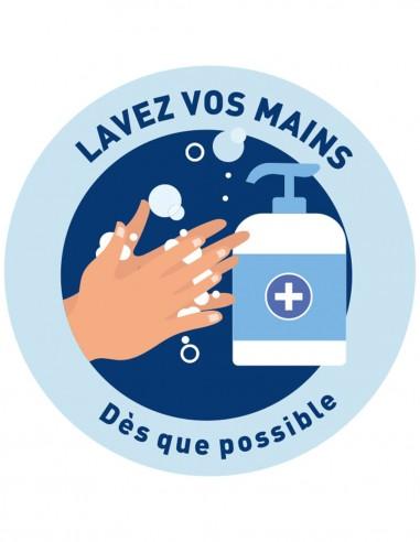 Autocollant lavage des mains diamètre...